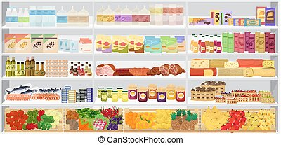 vettore, illustration., mensole, supermercato, shelfs, products., negozio
