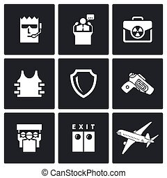 vettore, illustration., nucleare, icons., protezione, valigia, presidente