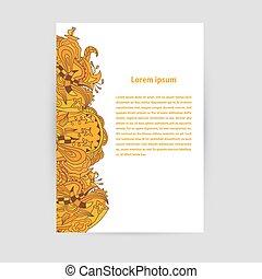 vettore, illustration., ornament., arancia, aviatore, floreale