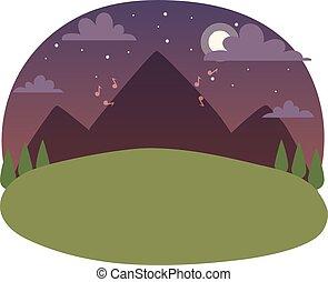 vettore, illustration., paesaggio, notte