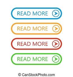 vettore, illustration., più, buttons., leggere, set