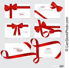 vettore, illustration., regalo, archi, ribbons., cartelle, ...