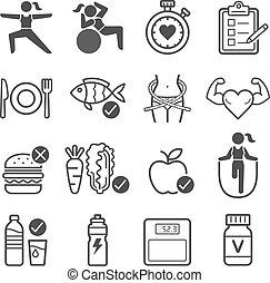 vettore, illustrations., dieta, icons., esercizio