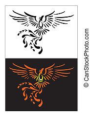 vettore, illustratore, phoenix