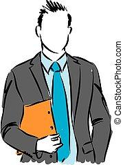 vettore, illustrazione affari, uomo