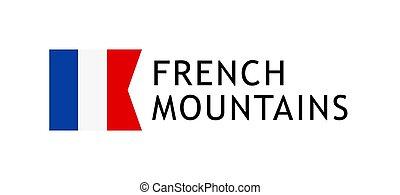 vettore, illustrazione, alpino, bandiera, intelligible, francese, montagne, giri, sagoma, amabile, logotype, francia