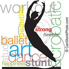 vettore, illustrazione, balletto