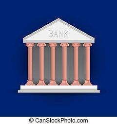 vettore, illustrazione, banca
