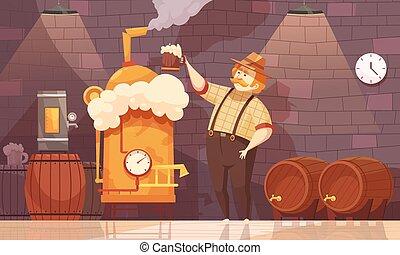 vettore, illustrazione, birraio, birra