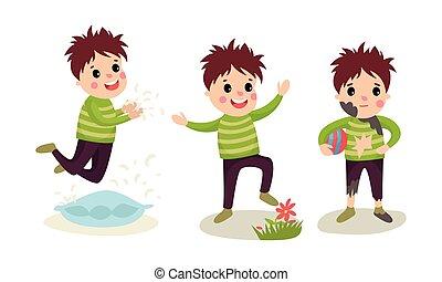 vettore, illustrazione, calcamento, ragazzo, giù, saltare, cuscino, set, fiori, birichino