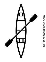 vettore, illustrazione, canoa