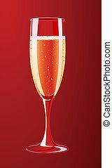 vettore, illustrazione, champagne