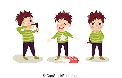vettore, illustrazione, chiazzatura, ragazzo, farina, catapultare, birichino, set