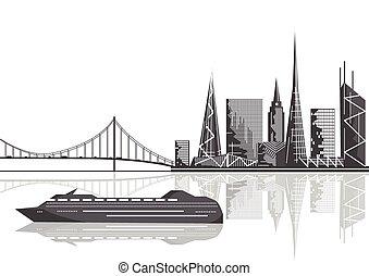 vettore, illustrazione, -, città