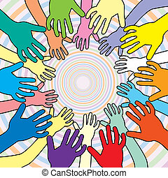 vettore, illustrazione, colorito, mani