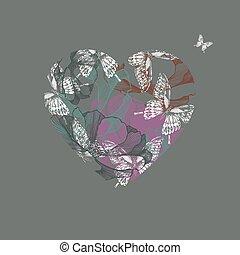 vettore, illustrazione, con, farfalle, e, fiori, in, cuore, h