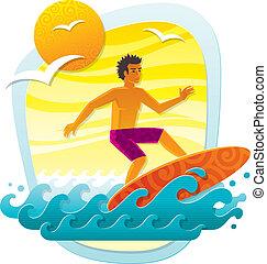 vettore, illustrazione, con, surfer, in, tropicale, mare, -, imitazione, di, applique, da, carta colore, forme
