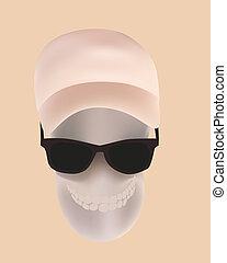 vettore, illustrazione, cranio