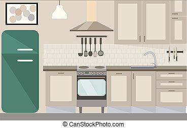 vettore, illustrazione, cucina