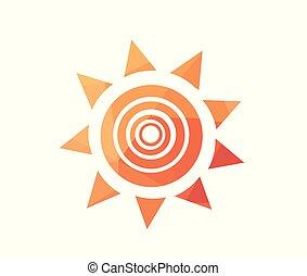 vettore, illustrazione, di, alba, sole