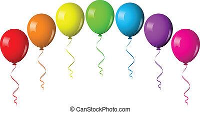 vettore, illustrazione, di, balloon, arco