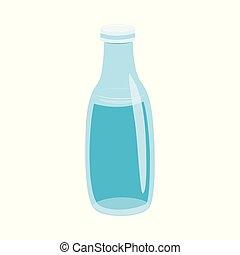 vettore, illustrazione, di, bottiglia vetro, con, acqua, in, appartamento, stile, isolato, bianco, fondo.