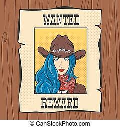 vettore, illustrazione, di, desiderato, vendemmia, occidentale, manifesto, con, giovane, bella ragazza, in, cowboy, hat., arte popolare, style., selvatico, west.