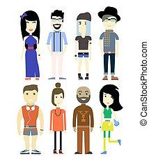 vettore, illustrazione, di, differente, persone, caratteri, set, collection.