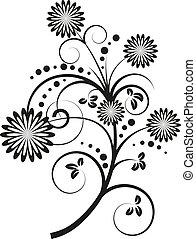 vettore, illustrazione, di, disegno floreale, elementi