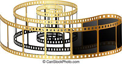 vettore, illustrazione, di, dorato, film