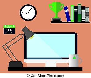 vettore, illustrazione, di, il, lavoro, place.