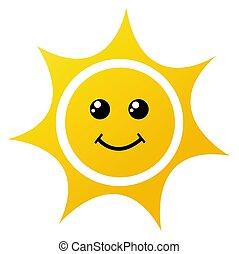 vettore, illustrazione, di, il, sole, bianco
