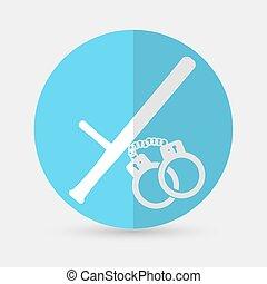 vettore, illustrazione, di, isolato, moderno, polizia, icon., su, uno, sfondo bianco
