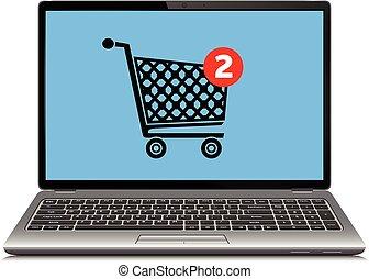 vettore, illustrazione, di, linea fare spese, concetto, con, moderno, laptop