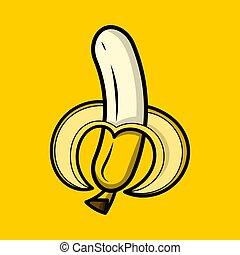 vettore, illustrazione, di, mezzo, banana sbucciata, isolato
