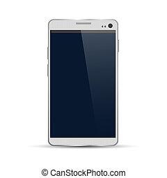 vettore, illustrazione, di, moderno, smartphone, isolato, bianco, fondo