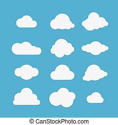 vettore, illustrazione, di, nubi, collection.