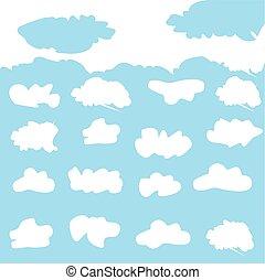 vettore, illustrazione, di, nubi, collezione