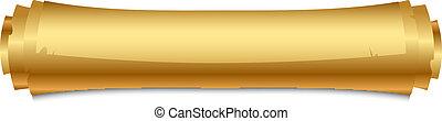 vettore, illustrazione, di, oro, rotolo