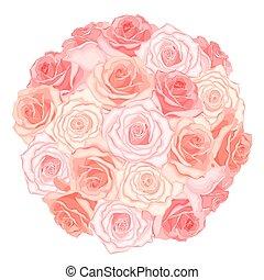 vettore, illustrazione, di, realistico, dettagliato, mazzolino rose, in, pesca, colore, bianco, fondo., illustrazione, per, design.