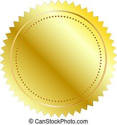 vettore, illustrazione, di, sigillo oro