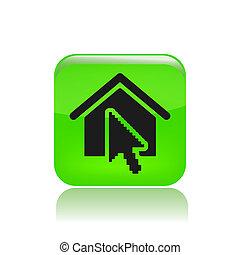 vettore, illustrazione, di, singolo, isolato, icona casa