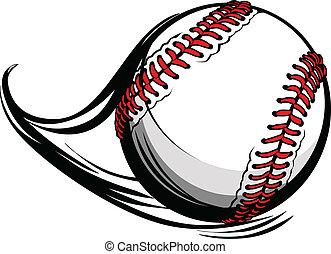 vettore, illustrazione, di, softball, o, baseball, con,...
