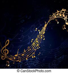 vettore, illustrazione, di, un, astratto, fondo, con, note musica