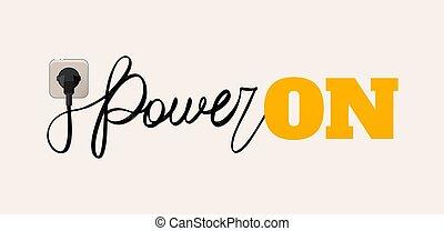 vettore, illustrazione, di, uno, filo, come, uno, calligrafia, potere, è, tappato, in, il, presa, e, il, iscrizione, su, è, splendore