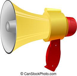 vettore, illustrazione, di, uno, megaphone.