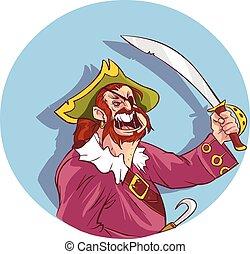 vettore, illustrazione, di, uno, pirati