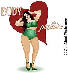 vettore, illustrazione, donna, formato, positivo, più, corpo