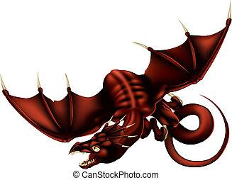 vettore, illustrazione, drago