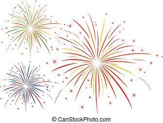 vettore, illustrazione, firework